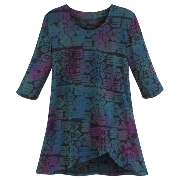Women's Su Placer Emmie Tunic Top - Jewel-Tone Graphic Blouse