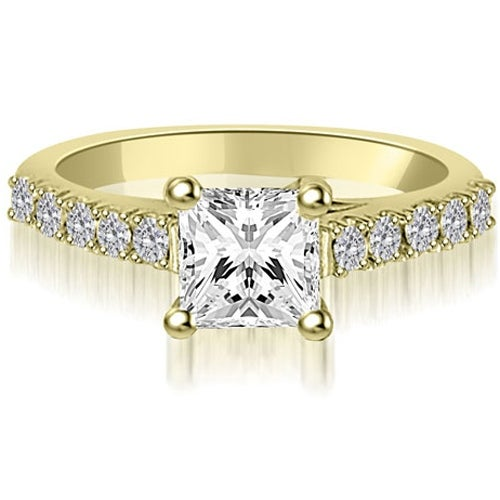 1.25 cttw. 14K Yellow Gold Princess And Round Diamond Engagement Ring