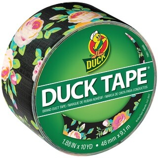 """Patterned Duck Tape 1.88""""X10yd-Neon Floral"""