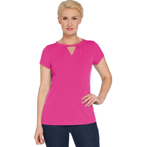 Susan Graver Womens Plus Liquid Knit Short Sleeve Top 1X Carnival Pink A287653
