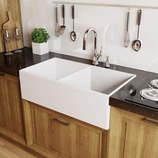 "Miseno MNO3320FC Modena 33"" Double Basin Farmhouse Fireclay Kitchen Sink with 50"
