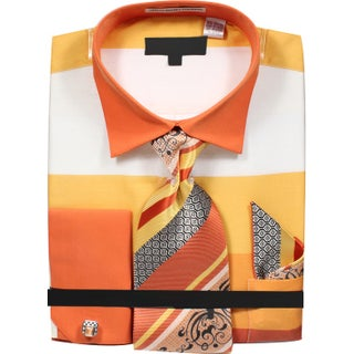 Men's Wide Striped Pattern Dress Shirt with Tie Handkerchief and Cufflinks
