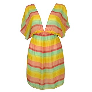 Miken Women's Chiffon Striped Dress Swin Cover ups - multi
