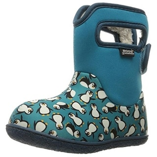 Bogs Girls Baby Penguins Printed Faux Fur Lined Snow Boots