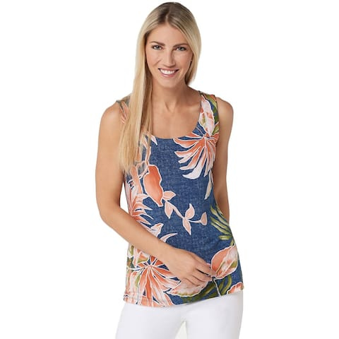 Attitudes Renee Womens Como Jersey Reversibles Sleeveless Top Plus 2X A350916