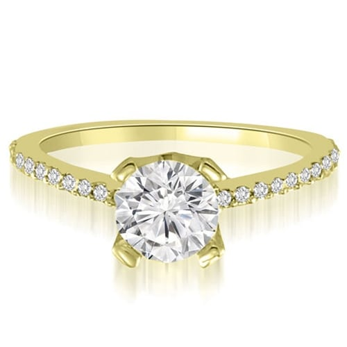 0.82 cttw. 14K Yellow Gold Classic Petite Round Cut Diamond Engagement Ring