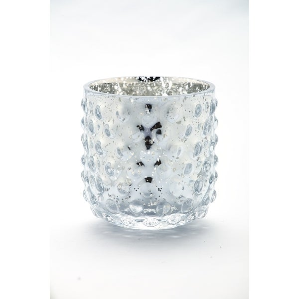 "4"" Silver Colored Hand Blown Glass Tea Light Candle Holder - N/A"