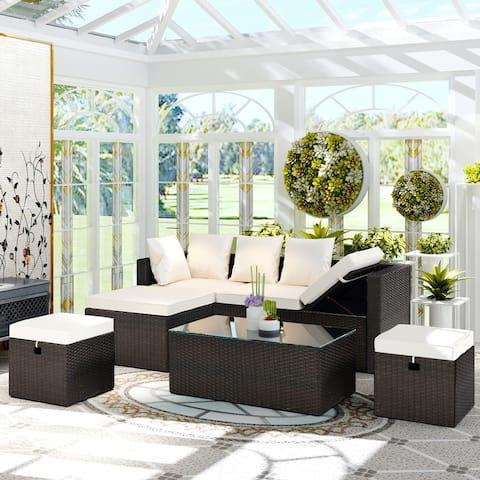 5-Piece All Weather PE Wicker Sofa Set Rattan Adjustable Chaise Lounge