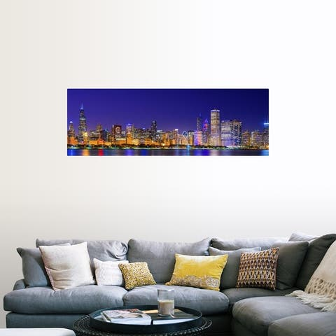 """""""Chicago skyline with Cubs World Series lights night"""" Poster Print"""