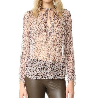 Theory NEW Brown Womens Size Large L Sheer Floral Tie Blouse Silk
