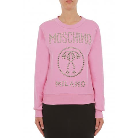 Moschino Women's Couture Cotton Crew Neck Studded Logo Sweatshirt Pink