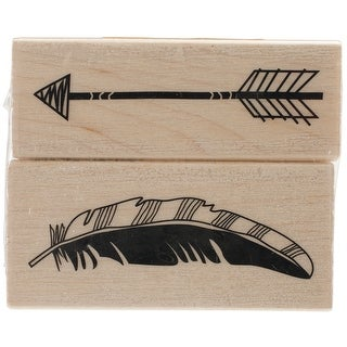 "Inkadinkado Mounted Rubber Stamp Set 2.75""X2.25""-Feather Arr - feather arrow"
