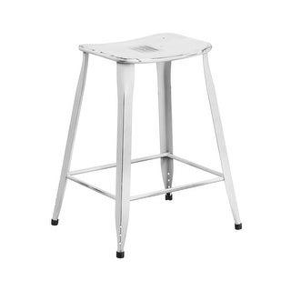 Offex 24'' High Distressed White Metal Indoor-Outdoor Counter Height Stool