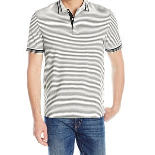 Nautica NEW White Black Striped Mens Size Small S Polo Rugby Shirt