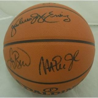 Larry Bird, Magic Johnson, Julius Erving Autographed Basketball PSADNA