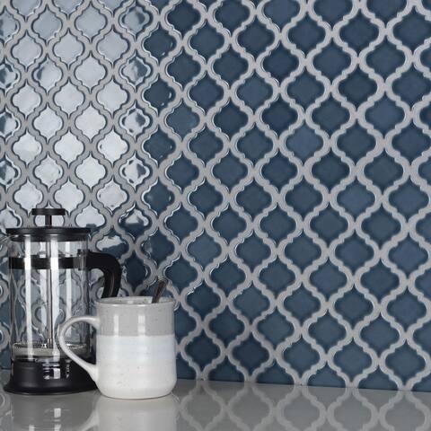 "SomerTile Hudson Tangier Storm Grey 12.38"" x 12.5"" Porcelain Mosaic Tile"