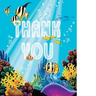 Thank Yous Card And Envelopes 8 Pack Ocean Party - multi
