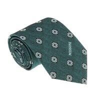 Missoni U5576 Green/Silver Geometric 100% Silk Tie - 60-3