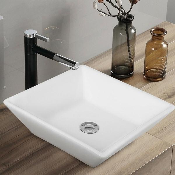 "Gymax 16"" x 16"" Beveled Square Bathroom Ceramic Vessel Sink Art Basin w/ Pop-up Drain"