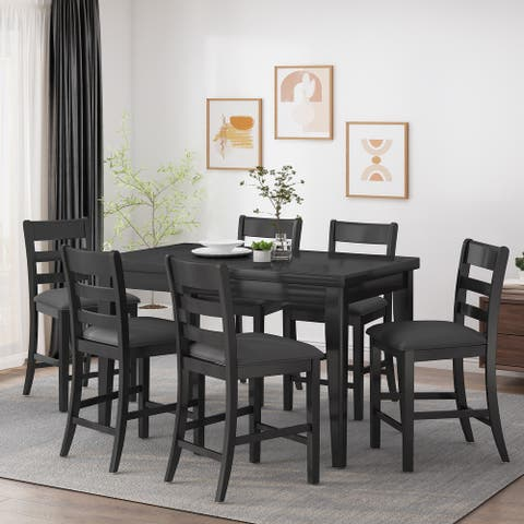 Benner Farmhouse Wood Counter Height 7 Piece Dining Set by Christopher Knight Home
