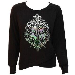 Harry Potter Hogwarts School Crest Cross Bottom Juniors Long Sleeve Raglan Pullover