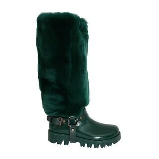 Dolce & Gabbana Dolce & Gabbana Green Rubber Lapin Fur Rain Boots