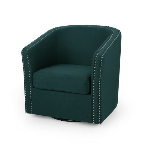 """Maya Contemporary Barrel Swivel Chair by Christopher Knight Home - 30.25"""" W x 31.25"""" L x 31.25"""" H"""