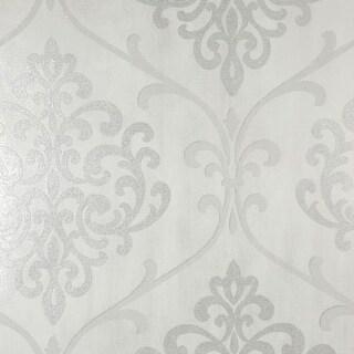 Brewster 2542-20717 Ambrosia Silver Glitter Damask Wallpaper