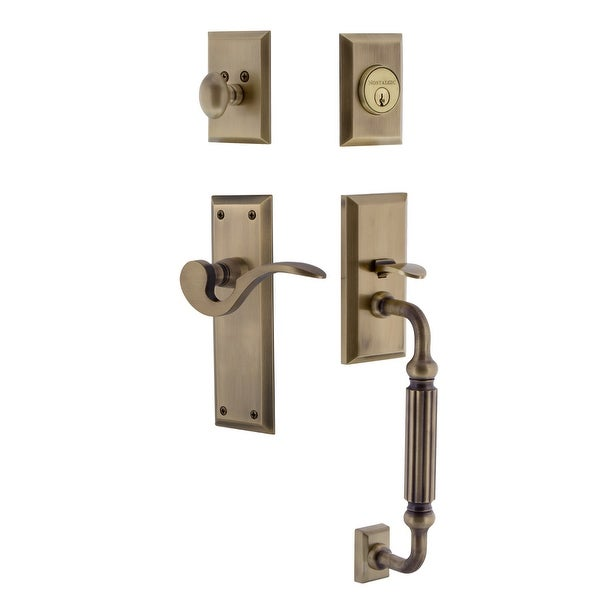 Nostalgic Warehouse NYKMAN_ESET_234_FG_LH New York Left Handed Sectional Single Cylinder Keyed Entry Handleset with F Grip and