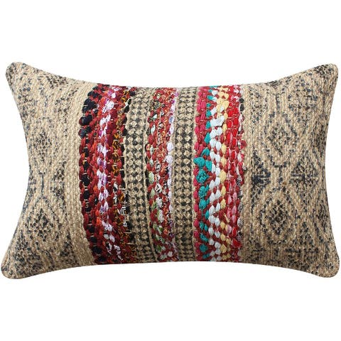 24 x 16 Inches Handwoven Jute Accent Pillow with Block Print, Brown and Red