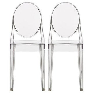 2xhome Set of 2 Clear Modern Dining Chair Molded Armless No Arm Side Chairs Stackable Plastic Chairs Home Office Kitchen Work
