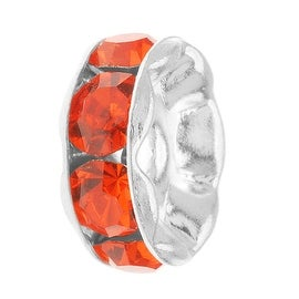 Silver Plated Rondelle Beads With Hyacinth Orange Czech Crystal 6mm (4)
