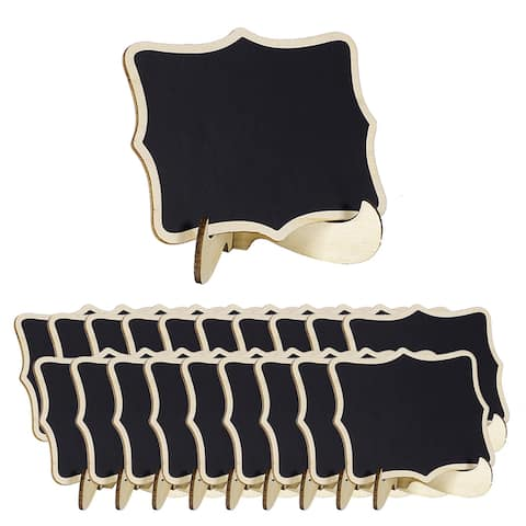 20pcs Wood Mini Chalkboard Tags w Base Stands for Message Board Signs - Black,Wood Color