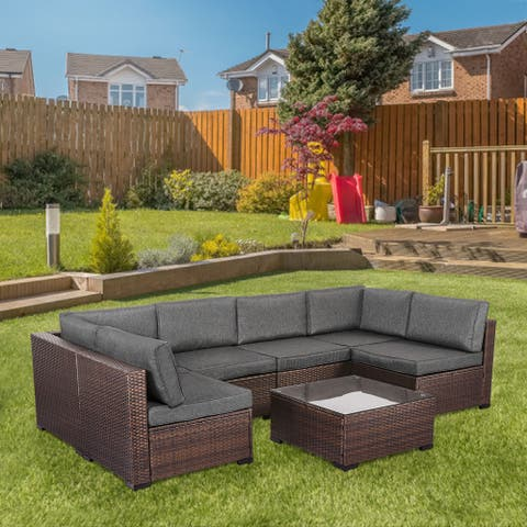 Kinsunny Outdoor Patio Furniture, Outdoor Sectional Rattan Wicker Sofa Conversation Set w/ Cushions