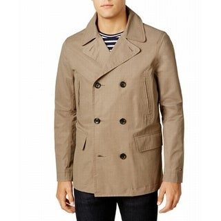 Tommy Hilfiger Beige Mens Size Small S Double Breasted Peacoat
