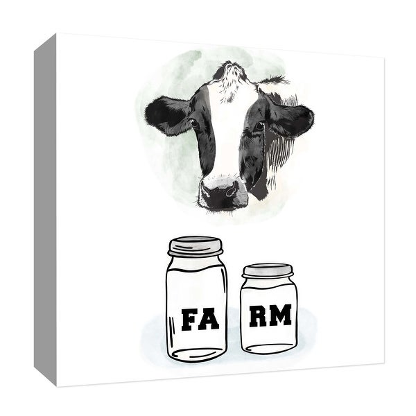 "PTM Images 9-126789 PTM Canvas Collection 12"" x 12"" - ""Farm II"" Giclee Cows Art Print on Canvas"