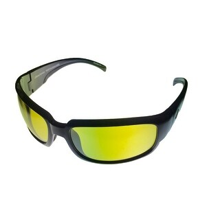 Callaway Mens Golf Sunglass 1117 Black Plastic Rectangle Wrap, Yellow Golf Lens