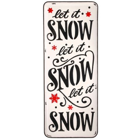 "24"" Black, White, and Red Metal Enamel Let It Snow Christmas Sign"