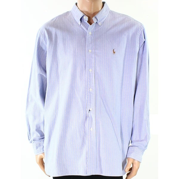 4acd5e4f62 Shop Ralph Lauren NEW Blue Mens Size 2XL Striped Logo Button Down Shirt - Free  Shipping Today - Overstock.com - 19796613