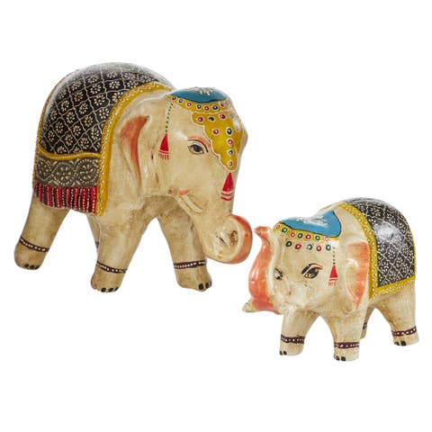 Small Eclectic Multi-Colored Ceramic Elephant Sculptures - 15 x 6 x 10