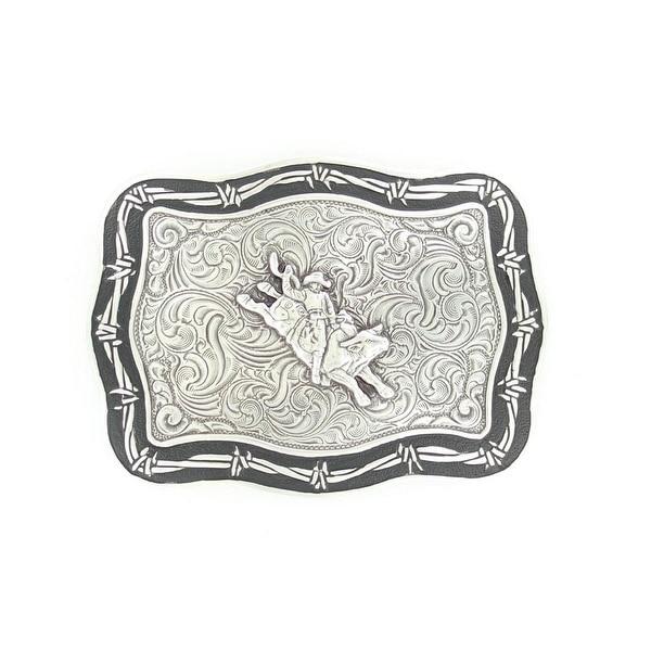 Crumrine Western Belt Buckle Rectangle Bull Rider Scroll Silver - 3 1/4 x 4 3/4