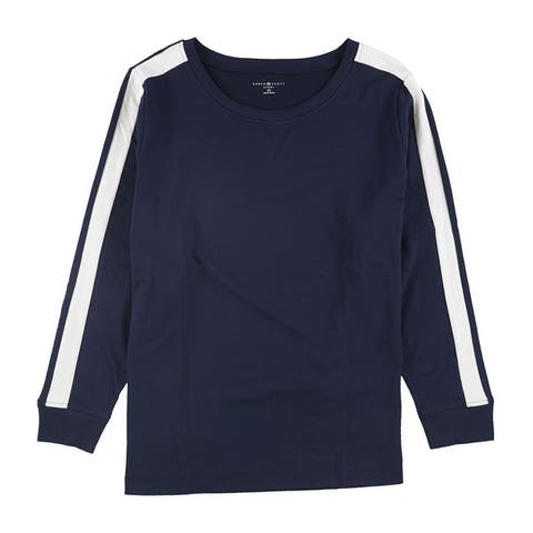Karen Scott Womens Stripe-Detail Sweatshirt