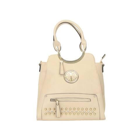 Hearty Trendy Beige Stud Rhinestone Zippered Rolled Handle Fashion Bag - One Size