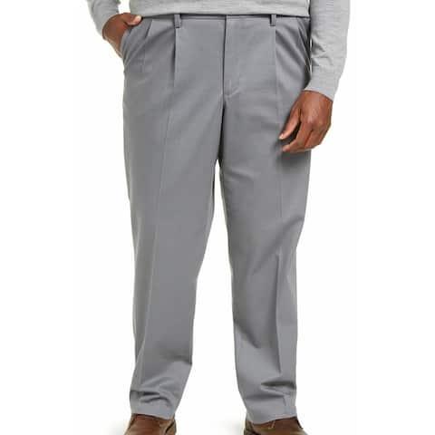 Dockers Mens Signature Khaki Pant Gray 44x30 Big & Tall Classic Pleated