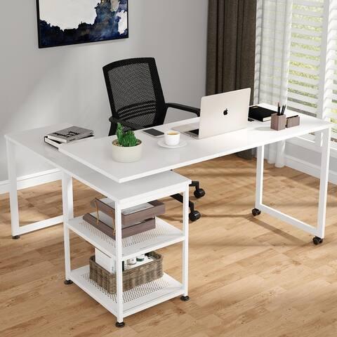 Reversible L-Shaped Desk, 55 inch Office Computer Desk Rotating Corner Desk