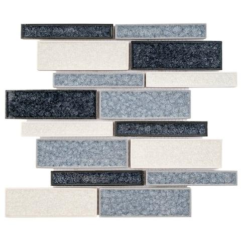 TileGen. Roman Art Mario Random Sized Ceramic in Blue Wall Tile (10 sheets/10.6sqft.)