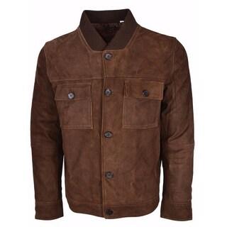 Robert Graham Men's Brown Lamb Suede Capizzi Coat Jacket L