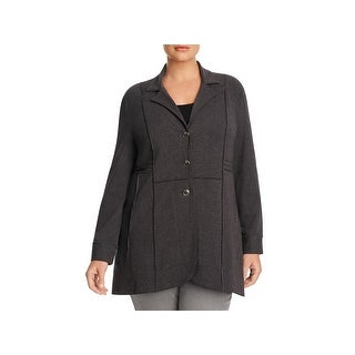 Nic + Zoe Womens Plus Basic Jacket Seamed Button