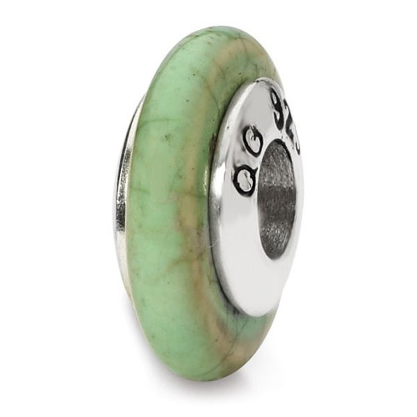 Sterling Silver Reflections Green Maganasite Stone Bead (4mm Diameter Hole)