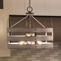 "Luxury Modern Farmhouse Pendant Light, 18.25""H x 21.625""W, with Rustic Style, Galvanized Steel Finish by Urban Ambiance"